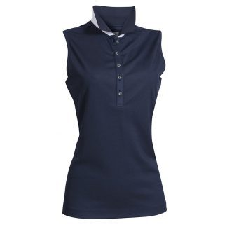 Backtee dames polo mouwloos donkerblauw