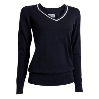Backtee Dames Solid Stretch Pullover Navy
