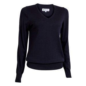 Backtee Dames Solid V-Neck Pullover Zwart
