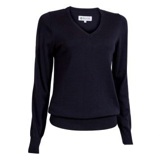 Backtee Dames Solid V-Neck Pullover Zwart