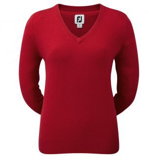 FootJoy Women's Lambswool V-Neck Pullover Rood