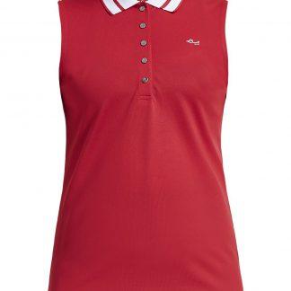 Röhnisch mouwloze golf polo pim red 224039