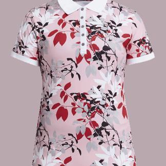 Röhnisch dames golf polo leaf, pink 726203