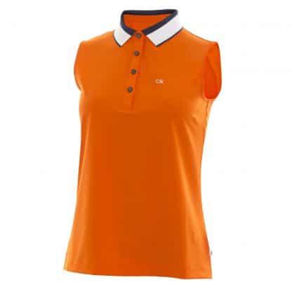 Calvin klein mouwloze golf polo praire oranje