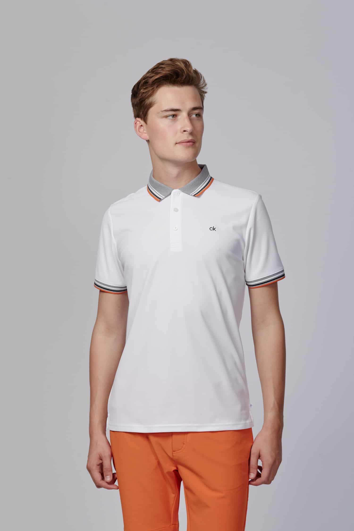 ec5b65738a7f Calvin Klein Bi-Lite Polo white/pure orange CKMS19202 - uwgolfwinkel.nl