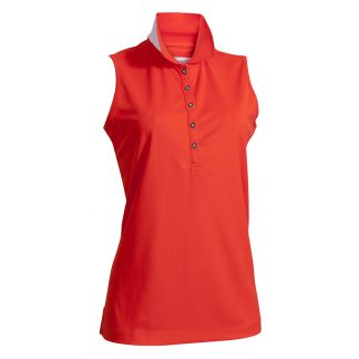 Backtee dames polo mouwloos poppy red