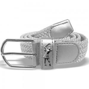 Surprizeshop silver woven golf belt