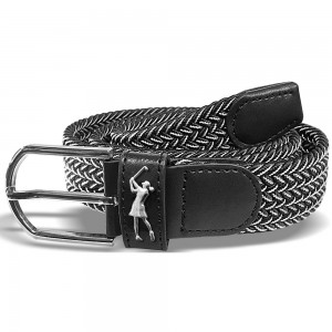 Surprizeshop black & white woven golf belt