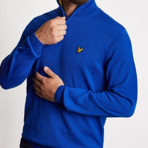 Lyle and Scott 1/4 zip pullover cobalt