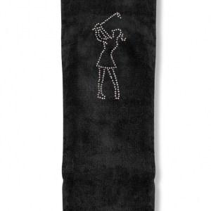 Surprizeshop Crystal Golf Tri-Fold Towel Lady black