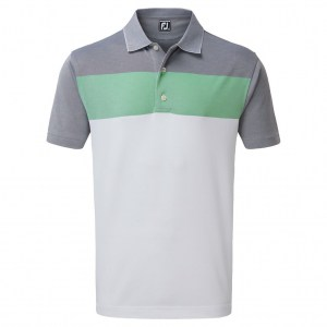 Footjoy heren polo birdseye groen, wit en grijs (90195)