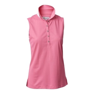 Backtee dames mouwloze performance polo roze