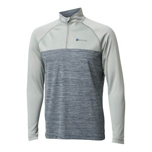 Backtee heren melange zipneck baselayer agave green