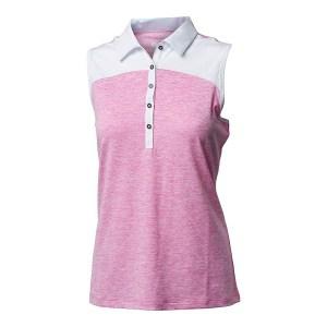 Backtee mouwloze dames golf polo melange roze