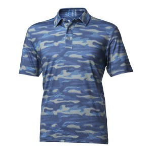 Backtee heren camouflage polo malibu blue