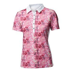 Backtee dames flower polo roze