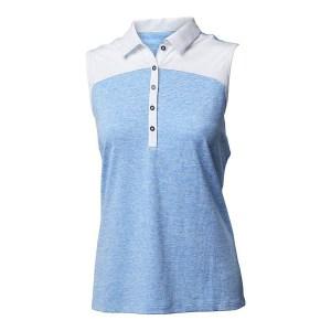 Backtee mouwloze dames golf polo melange blauw